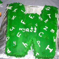 First Birthday Alphabet Extravaganza Theme Suppose To Be Like Letters Laying Around In The Grass I Used A Large Square Pan To Bake The W  First birthday, alphabet extravaganza theme, suppose to be like letters laying around in the grass I used a large square pan to bake the W...