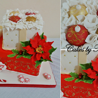 Christmas Gift Box Cake Every Thing Is Edible Made With Gumpaste And Fondant Christmas Gift Box cake, every thing is edible made with gumpaste and fondant.