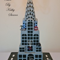 Spiderman Themed Cake With My Cartoonish Recreation Of The Chrysler Building SPIDERMAN THEMED CAKE WITH MY CARTOONISH RECREATION OF THE CHRYSLER BUILDING