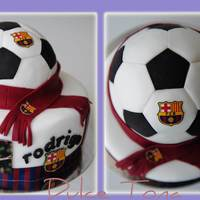 Football Cake Fcb Filled with Vanilla SMB and Dulce de Leche. Covered with fondant