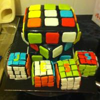 Rubix Cube the dreaded rubix cube has made a comeback, its vanilla and chocolate fudge cake with mini cakes all made to look like rubix cubes