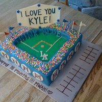 Made This Cake For A Huge Dodger Fan Came With A Couple Tickets To A Game Paid Special Attention To Stadium Details To Make It Personal Made this cake for a HUGE Dodger fan - came with a couple tickets to a game :) Paid special attention to stadium details to make it...