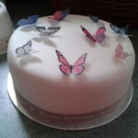 Mother In Laws 65Th Birthday Cake Very Simple To Do Rice Paper Butterflies Mother-in-Law's 65th Birthday cake.Very simple to do.Rice paper butterflies.