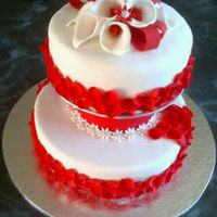Red And White Wedding Cake.