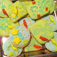Designer Sugar Cookies Designer Sugar Cookies: I started these cookies from a gorgeous piece of Vintage fabric I saw a Flea Market for a LOT of money. I sketched...