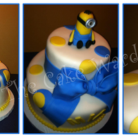 Despicable Me Cake! Despicable Me birthday cake I made this weekend. Confetti style cake, covered in white chocolate buttercream under fondant and hand molded...