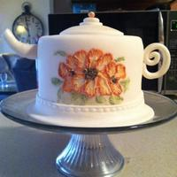My First Teapot Cake Covered In Fondant And Hand Painted Using Buttercream Frosting My first teapot cake! Covered in fondant and hand painted using buttercream frosting :)