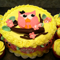Kids Birthday Cakes Owl cake and cupcakes for a lovely little girl turning 3. I got the order Monday night, and it was due Wednesday! Cake is strawberry with...