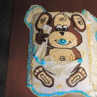 Monkey Business Baby Shower Cake  I MADE THIS FOR MY COUSIN'S BABY SHOWER. SHE WANTED TO DO A MONKEY THEME. THE BLANKET AND MONKEY ARE HOMEMADE MARSHMALLOW FONDANT AND...