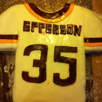 Redskins Jersey Birthday Cake  MY BOYFRIEND IS A HUGE REDSKINS FAN, SO I MADE THIS BIRTHDAY CAKE FOR HIM WITH HIS LAST NAME AND AGE. THIS WAS MY FIRST FONDANT CAKE AND I...