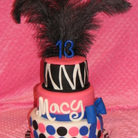 Pink Blue Black White 13Th Birthday Cake Zebra Polkadots Bow Feathers   This was my first stacked cake. Fondant with a gumpaste/fondant bow and 13.