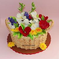 Flowers Basket Cake Flowers Basket Cake