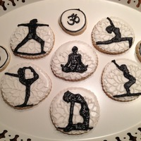 Yoga Cookies   yoga silhouettes on lotus flower backgrounds