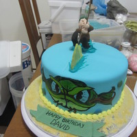 Hand Painted Fish On The Side Gelalcohol And Lots Of Royal Icing To Keep The Figure In Place Sorry About The Mess In The Background Hand painted fish on the side (gel/alcohol) and lots of royal icing to keep the figure in place :-) Sorry about the mess in the background...