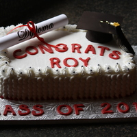 Grad Cake For My Son Graduating Grade 8 Chocolate And Vanilla Layers Iced With Butter Cream And Lettering And Had Made With Molding Chocol... Grad cake for my son graduating grade 8. Chocolate and vanilla layers iced with butter cream and lettering and had made with molding...