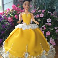 First Attempt At A Princess Barbie Cake Dress Is Draped In Fondant And Covers A Vanilla Cake Accents Are Fondant And Beading Is Done With First attempt at a Princess Barbie Cake. Dress is draped in fondant and covers a vanilla cake. Accents are fondant and beading is done with...