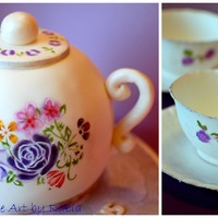 Hand Painted Tea Pot Cake With Matching Sugar Teacups Thanks For Looking Hand painted tea pot cake with matching sugar teacups. Thanks for looking! :)