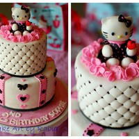 For A Pinkblack White Hello Kitty Themed Birthday Party All Decorationsfigures Are Edible Including The Fondant Hello Kitty For a pink+black+ white Hello Kitty themed birthday party. All decorations/figures are edible including the fondant Hello Kitty :).