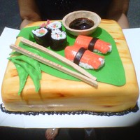 Baked Inspirations Sushi cake made entirely of cake, fondant and gumpaste, including the soy sauce bowl.
