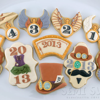 Steampunk New Year's Eve Cookies  I combined a Steampunk theme with images that you would normally associate with New Year's Eve. More details are on my blog: http://...