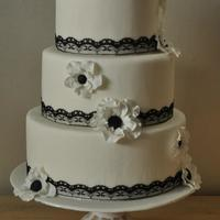 Black And White Wedding Cake with sugar flowers