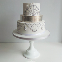 1920's White And Silver Wedding Cake