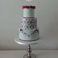This Is A New Cake Design With A Rice Paper Wrap With A Pattern That I Designed Myself Snippets Have Been Used In The Bunting Too This is a new cake design with a rice paper wrap with a pattern that I designed myself, snippets have been used in the bunting too.