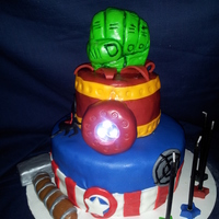 The Avengers Cake (First Cake Attempted) This is the first time I've attempted to make a whole cake all on my own. (Box brands don't count, even though their delish and...