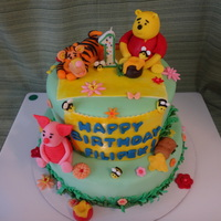Winnie Pooh Cake For A 1St Birthday Raseberry Mousse Felling And Vanilla Sponge Winnie Pooh cake for a 1st Birthday, raseberry mousse felling and vanilla sponge