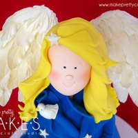 "3D Christmas Angel With Nativity Scene This little Angel stands 15"" high on a 16"" board. The best part for me, are the wings. I love those happy moments in cake when..."