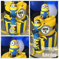 Minions   Minion birthday cake. all handmade out of fondant - supported with skewers
