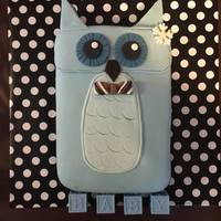 Baby Boy Owl Shower Cake Baby Boy Owl Cake covered in Vanilla Satin Ice fondant.