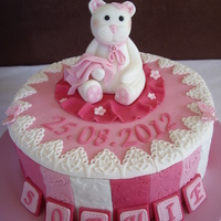 Baby Girl Cakes   Fondant teddy sitting on top of a Chocolate cake covered in embossed fondant and lace edge.