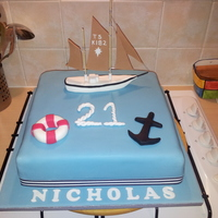 21St Birthday Shipboat Theme Cake Customer Gave Me A Picture Of The Boat Her Son Sails And I Made A Copy Of It Using Fondant 21st Birthday ship/boat theme cake. Customer gave me a picture of the boat her son sails and I made a copy of it using fondant.