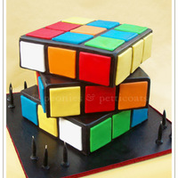 "Fathers Day And Boy Themed Cakes   Rubiks Cube Cake - 10"" Square"