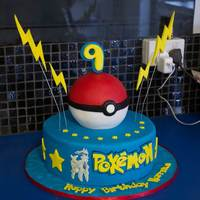 Pokemon Cake My very first cake order!! A Pokemon themed cake. Used my dairy and egg free chocolate cake recipe layered with ganache (which sorta...