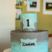 1St Birthday Cake For My Son Ive Mostly Only Done Fondant Covered Cakes But Used The Opportunity To Practice A Bc Covered Cake Used Sweet 1st birthday cake for my son. I've mostly only done fondant covered cakes but used the opportunity to practice a BC covered cake. Used...