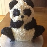 My First Panda After all the trauma getting this cake pan, my first attempt at the panda I promised myself as a birthday cake
