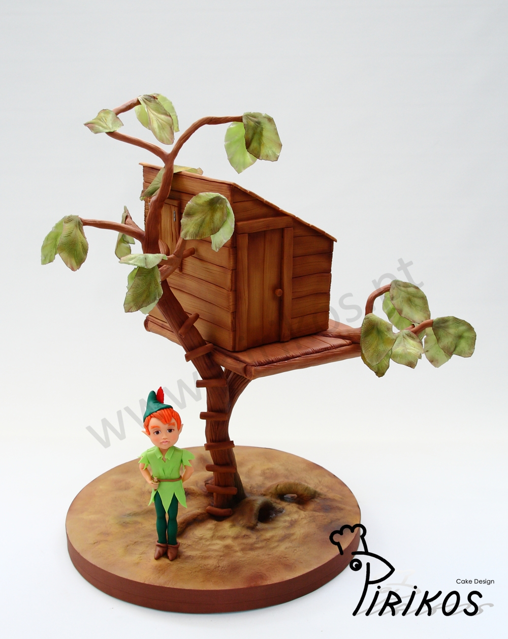 Peter Pan's Tree House Peter Pan as Made a tree house for his friend, the birthday boy!A Cake for 30 at 30 cm from the base on a tree.