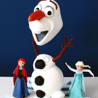 Fozen's Olaf Cake The cake on top of a snow crystal along side Anna and Elsa. Chocolate cake with sweet caramel filling for the body and Vanilla cake with...
