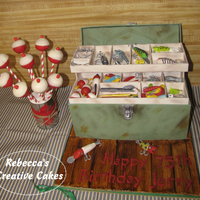 Fishing Tackle Box With Cake Pop Float Bobbers This Was Truly A Fun Cake To Make Fishing Tackle Box with cake pop float bobbers! This was truly a fun cake to make!!