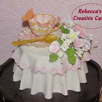 Mother's Day Cup Of Tea!   Edible tea cup and saucer and spoon! Pastillage, gum paste and sugarpaste.