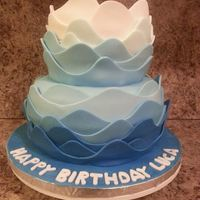 Ombre Wave Cake Vanill cake with vanilla pudding filling. Wilton fondant. Waves glued on with tylose and water mixture.