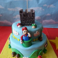 Super Mario Cake chocolate and vanilla with vanilla buttercream and fondant.