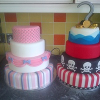 A Cake Of 2 Halves A Dummy Cake For My Twins 5Th Birthday A Princess And Pirate Party 6 8 10 And 12 Inch Rounds Split Down The Middle A cake of 2 halves.A dummy cake for my twins 5th birthday, a Princess and Pirate party. 6, 8, 10, and 12 inch rounds split down the middle...