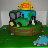 60Th Birthday Farm Cake Sponge Cake One With Oreo Buttercream And One With Chocolate Tractor And Sun Are Rkt Got Lots Of Ideas From Othe 60th birthday farm cake. Sponge cake, one with Oreo buttercream and one with chocolate. Tractor and sun are RKT. Got lots of ideas from...