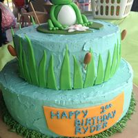 Frog Cake For My Nephews First Birthdaypeanut Butter Buttercream Icing And Choc Cakefrog Grass And Cat Tails Made Out Of Fondant   Frog cake for my nephews first birthday...peanut butter buttercream icing and choc cake...frog, grass, and cat tails made out of fondant