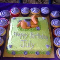 Horse Cake   Buttercream frosting and horse was made out of fondant