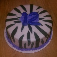 Zebra Print  My daughters birthday cake...covered in white fondant and then cut stripes out of black fondant...I made the numbers out of fondant to go...