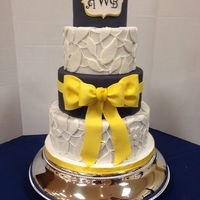 Navy And Yellow Wedding Cake Navy and Yellow wedding cake.